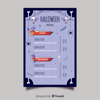 Bunte halloween-menüschablone mit flachem design