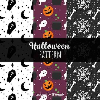 Bunte halloween-mustersammlung mit flachem design