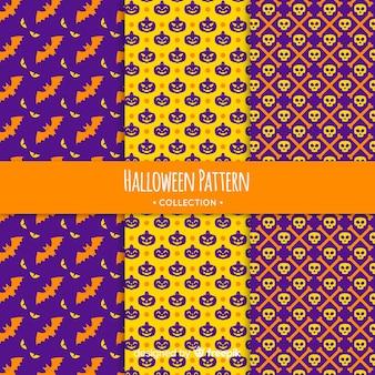 Bunte halloween-mustersammlung mit geometrischem design