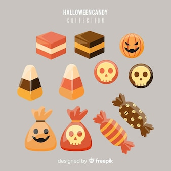 Bunte halloween-süßigkeitsammlung im flachen design