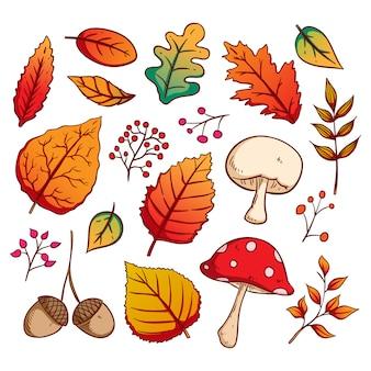 Bunte hand gezeichnete art von autumn leaves auf weißem hintergrund