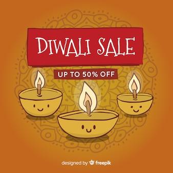 Bunte hand gezeichnete diwali verkaufszusammensetzung