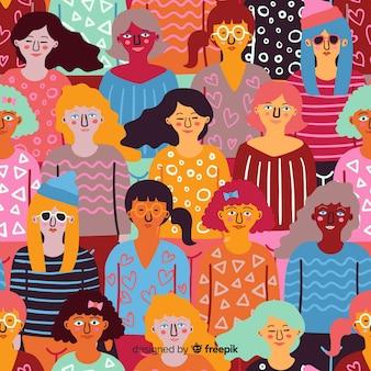 Bunte Hand gezeichnete Frauen Muster