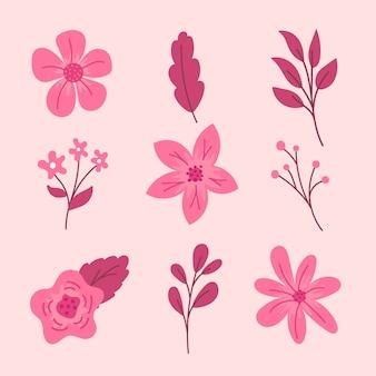 Bunte hand gezeichnete frühlingsblumensammlung