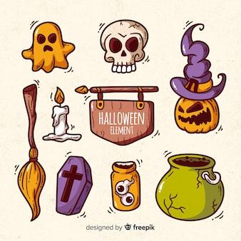 Bunte hand gezeichnete halloween-elementsammlung