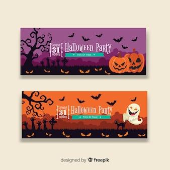 Bunte hand gezeichnete halloween-fahnen