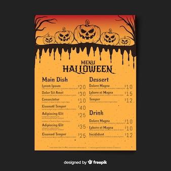 Bunte hand gezeichnete halloween-menüschablone