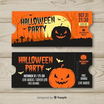 Bunte hand gezeichnete halloween-partykartenschablone