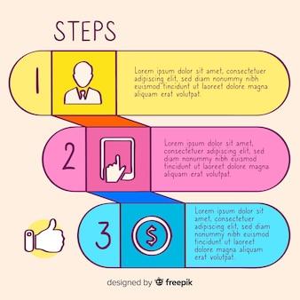 Bunte hand gezeichnete infographic schritte