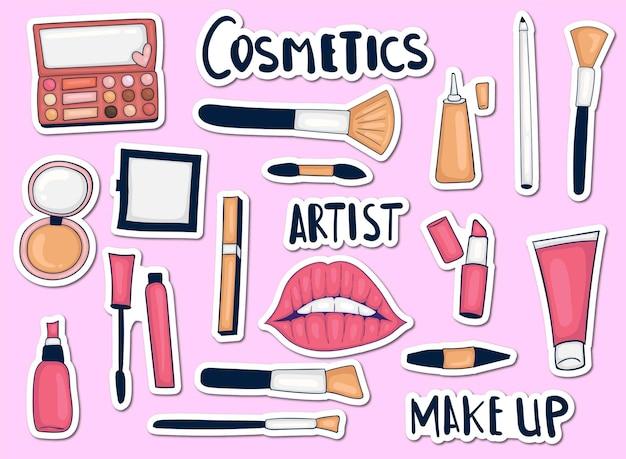 Bunte hand gezeichnete make-up tools aufkleber sammlung
