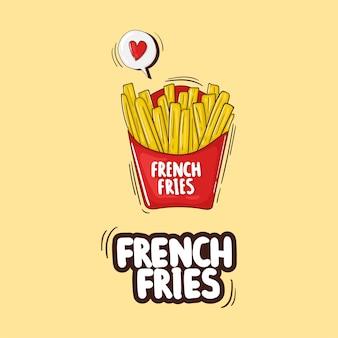 Bunte hand gezeichnete pommes frites illustration