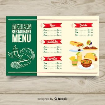 Bunte hand gezeichnete restaurantmenüschablone