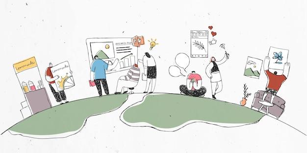 Bunte hand gezeichnete teamarbeitillustration mit gruppe von leuten in der welt