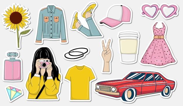 Bunte hand gezeichnete trendy stickers sammlung