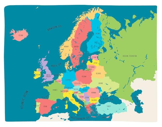 Bunte hand gezeichnete vektorkarte von europa