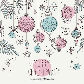 Bunte hand gezeichnete weihnachtsballsammlung