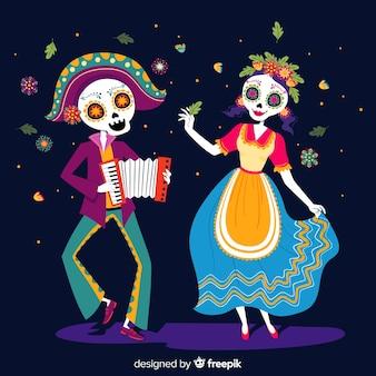 Bunte Hand gezeichneter Hintergrund Día de Muertos