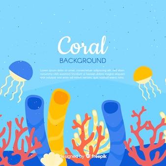 Bunte hand gezeichneter korallenroter unterwasserhintergrund