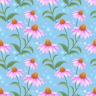 Bunte hand gezeichnetes kegelblumenmuster-vektordesign. kann für gewebetextiltapetenhintergrund verwenden.