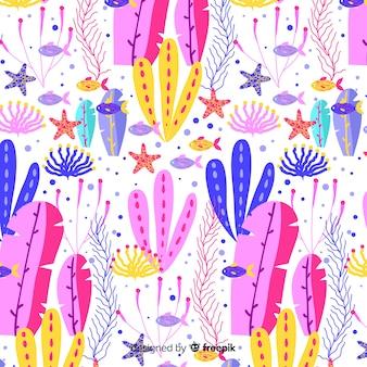 Bunte hand gezeichnetes korallenrotes muster