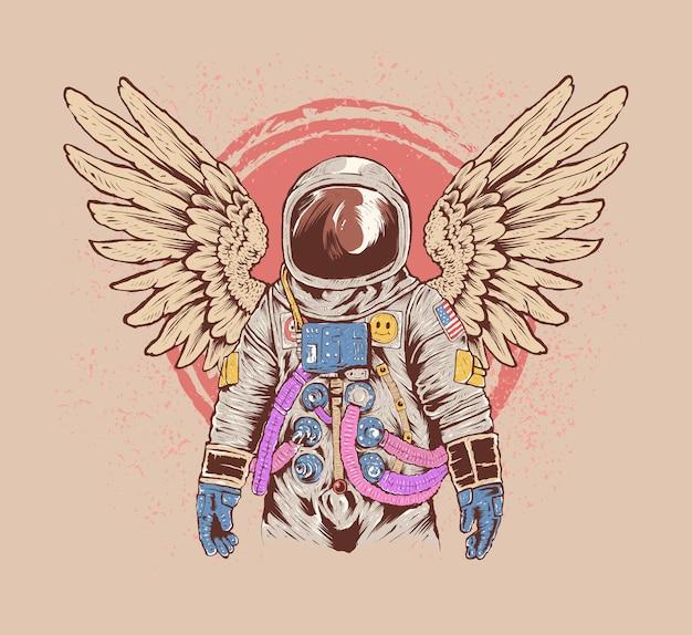 Bunte handgezeichnete astronautenillustration mit flügeln