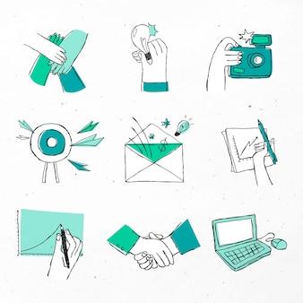 Bunte handgezeichnete brainstorming-symbole doodle-kunst-set