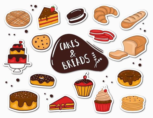 Bunte handgezeichnete brot- und kuchenaufkleber