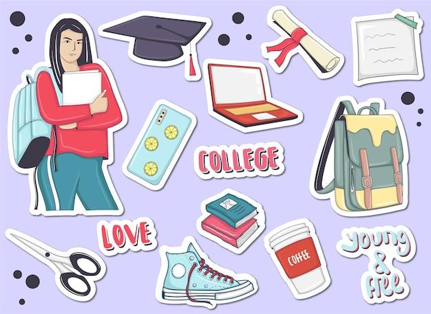 Bunte handgezeichnete college-element-aufkleber-sammlung
