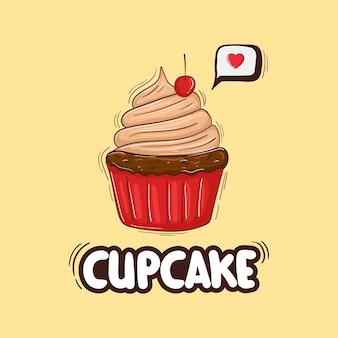 Bunte handgezeichnete cupcake-illustration