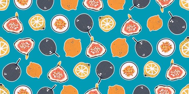 Bunte handgezeichnete passionsfrüchte zitronen limetten orangen und feigen im vektor nahtlose muster Premium Vektoren