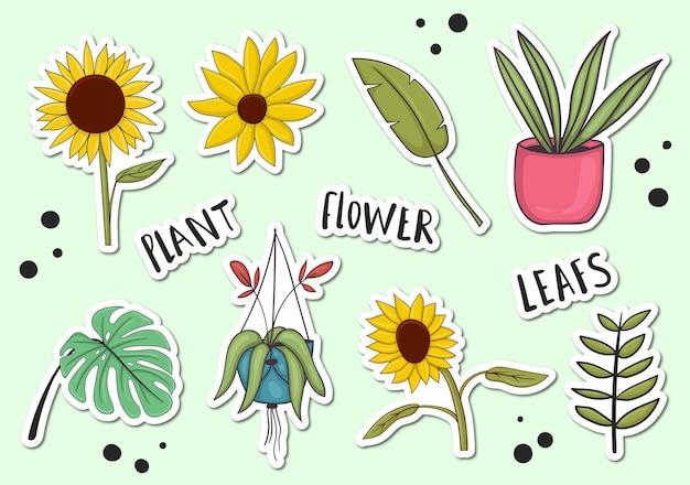 Bunte handgezeichnete pflanzen-aufkleber-sammlung