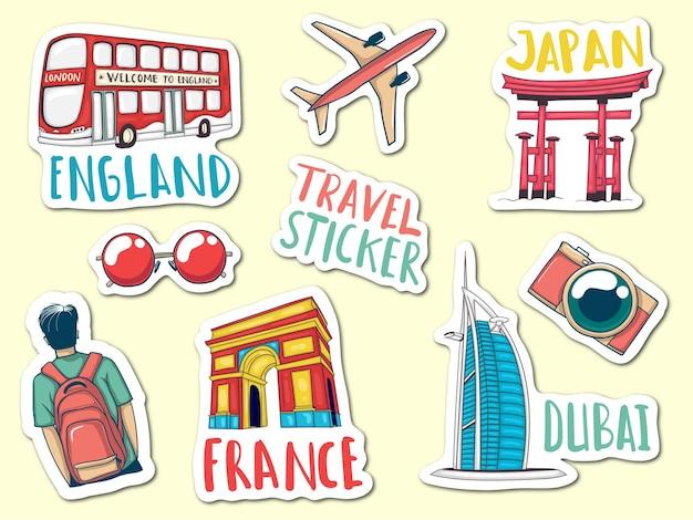 Bunte handgezeichnete reise-aufkleber-sammlung