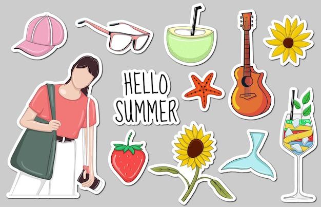 Bunte handgezeichnete sommerelement-aufklebersammlung