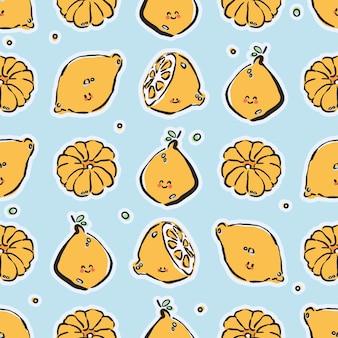 Bunte handgezeichnete zitronen und mandarinen in nahtlosem muster