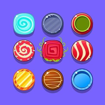 Bunte hard candy flash-spielelementvorlagen design-set mit runden süßigkeiten für drei in der reihe art des videos