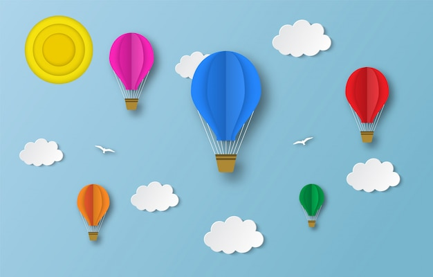 Bunte heißluftballons fliegen