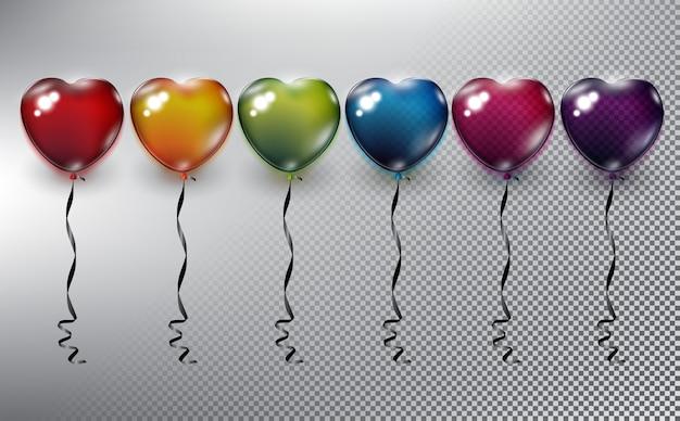Bunte herzförmige heliumballonsammlung. aufblasbare luftballons. auf der weißen oberfläche isoliert.
