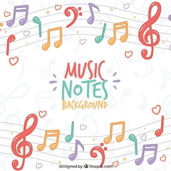 Bunte hintergrund der musikalischen notizen auf dem pentagramm