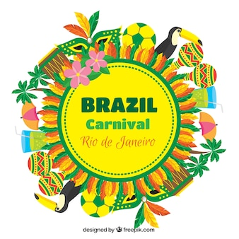 Bunte hintergrund mit brasilianischen karneval elemente