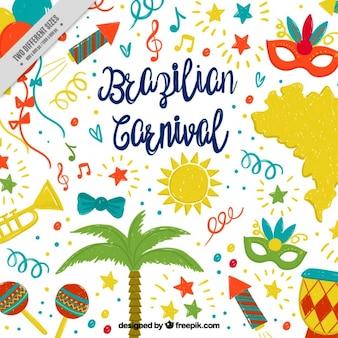 Bunte hintergrund mit handgezeichneten objekte für brasilianische karneval