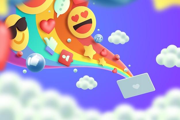 Bunte hintergrundauslegung der emojis 3d