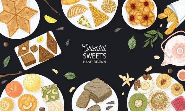 Bunte hintergrundschablone mit orientalischen süßigkeiten, die auf platten auf schwarzem hintergrund liegen