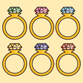 Bunte hochzeits-diamant-ring-design. kostenlose vektor