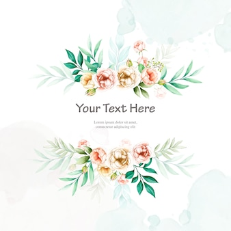 Bunte hochzeitseinladung mit aquarellblumenrahmen