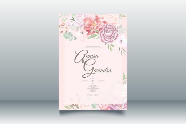 Bunte hochzeitseinladungskarte mit schönem blumen- und blätterschablonensatz