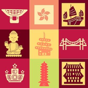 Bunte hongkong-reisekollektionen im flachen stil