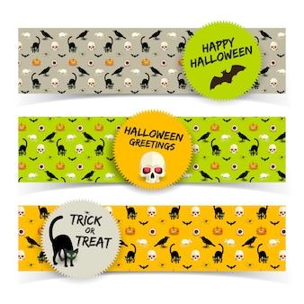 Bunte horizontale halloween-banner mit aufkleberschädelschwarzkatzenrabenfledermauskürbisratten-menschliches auge