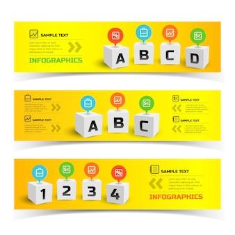Bunte horizontale infografik-banner mit 3d-quadraten