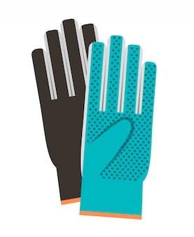 Bunte ikone der handschuhe auf weiß
