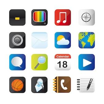 Bunte ikonen getrennt über weiß
